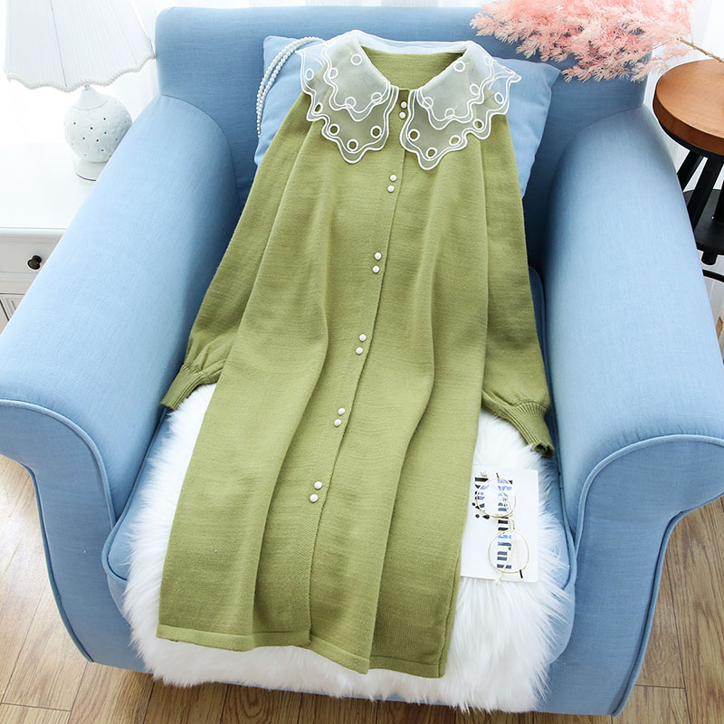 lace neck women sweater and cardigan loose long solid lantern sleeved lady elegant outwear coat tops
