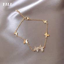 2021 nova delicada borboleta pulseira ajustável cobre incrustado zircon borboleta pingente pulseiras para feminino menina moda jóias