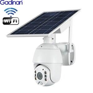 Камера видеонаблюдения Gadinan, с солнечной панелью, Wi-Fi, PTZ, IP, 4-кратный цифровой зум, AI, PIR, детектор внутренней связи, аудио, слот для SD-карты