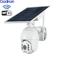 Gadinan Solar Power Panel WiFI PTZ IP Security Camera CCTV Outdoor 4X Digital Zoom AI PIR Detect Intercom Audio SD Card Slot Cam