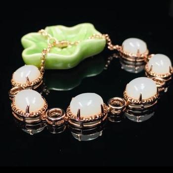 925 Silver Rose Gold Chain HeTian Jade Beads Inlay Lucky Bracelet Gift Bracelets Certificate For Women Fine Jewelry