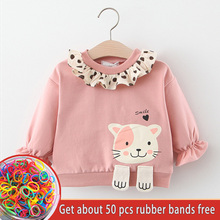 Girls Lotus Leaf Collar Shirts Winter Spring Baby Kids Cute Cartoon Cat Sweatshirts Children Long Sleeve Princess Cotton Clothes girls plaid blouse 2019 spring autumn turn down collar teenager shirts cotton shirts casual clothes child kids long sleeve 4 13t