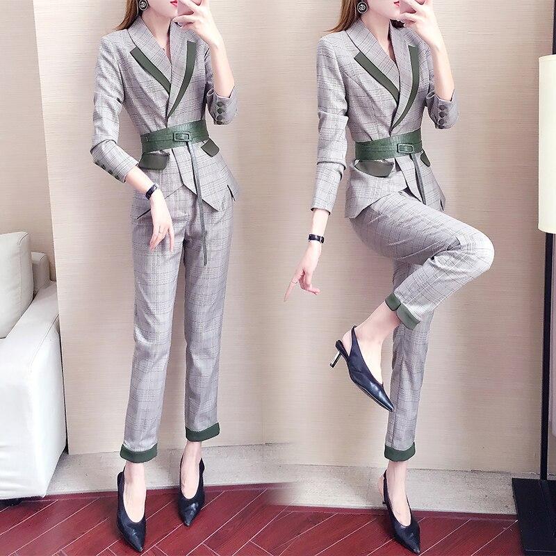 women suits blazer set Plaid pant suits for women Slim suit women's autumn Overalls suit two-piece womens suits set 2 pieces 20