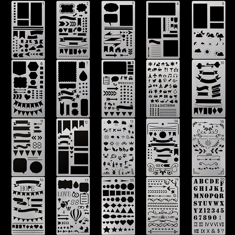 20 PCS Journal Stencil Plastic Planner Set For Journal Notebook Diary Scrapbook DIY Drawing Template Tools 4x7 Inch