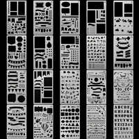 20 PCS Ufficiale Stencil di Plastica Planner Set per Ufficiale Notebook Diario Scrapbook FAI DA TE Modello di Disegno Strumenti di 4x7 Pollici