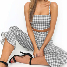 Goocheer 2pcs Plaid Sets Women Tracksuit Plaid Sexy CasualSleeveless Sweatsuit Crop Tank Top Flare Pants Leggings checked plaid crop cami top with leggings