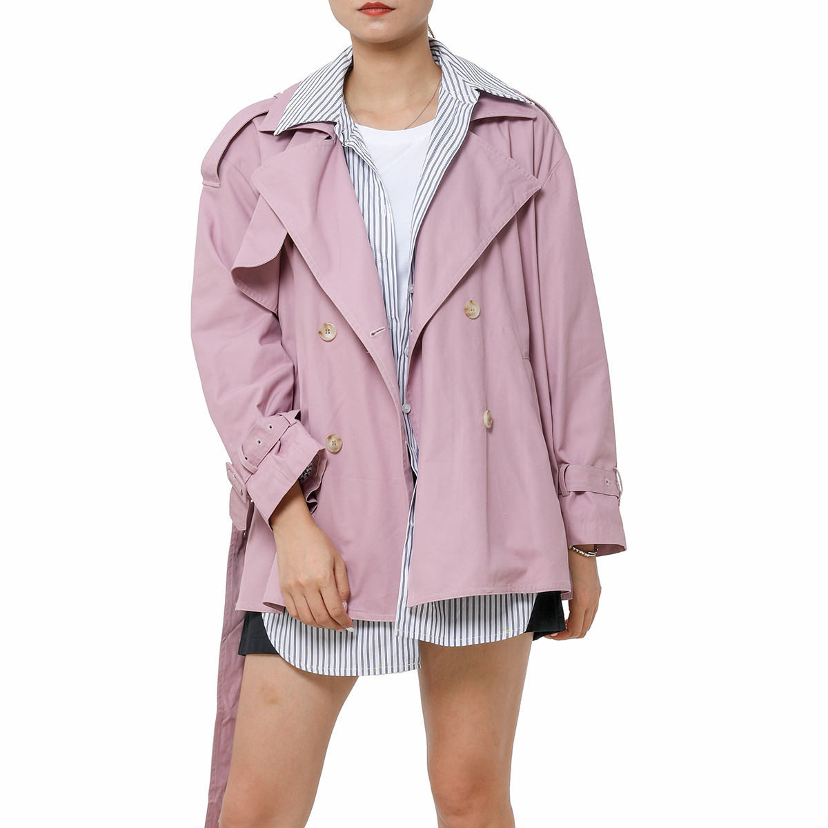 Jastie Fake Two Pieces   Trench   Coat UK Fashion 2019 Autumn Winter Coats Lapel Belt Casual Women Windbreaker Outerwear Top   Trench