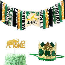 Jungle Animals Themed Highchair Banner Decor Crown Party Supplies for Baby 1st Birthday TP899(China)