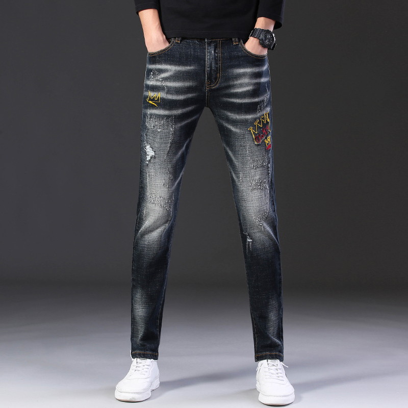 Fashion Casual Ripped Jeans Men Straight Slim Stretch Print Black Jeans  Scratched Embroidery Denim Tide Brand Hole Pants Men