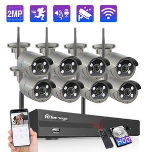 Techage 8CH 1080P Wireless NVR Camera Kit CCTV Security System Outdoor Wifi IP Camera 2MP Audio Sound P2P Video Surveillance Set(China)