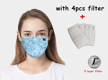 women  blue print Cotton fabric PM2.5 protective mouth Mask anti dust masks carbon filter bacteria proof Flu face mask washable