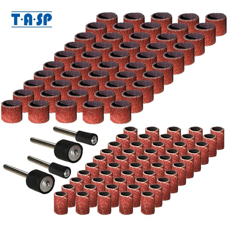 TASP 100stk Slipbandslipband och muffsats Sandpapper Roterande verktyg Tillbehör med mandrels Grit 80/120/180