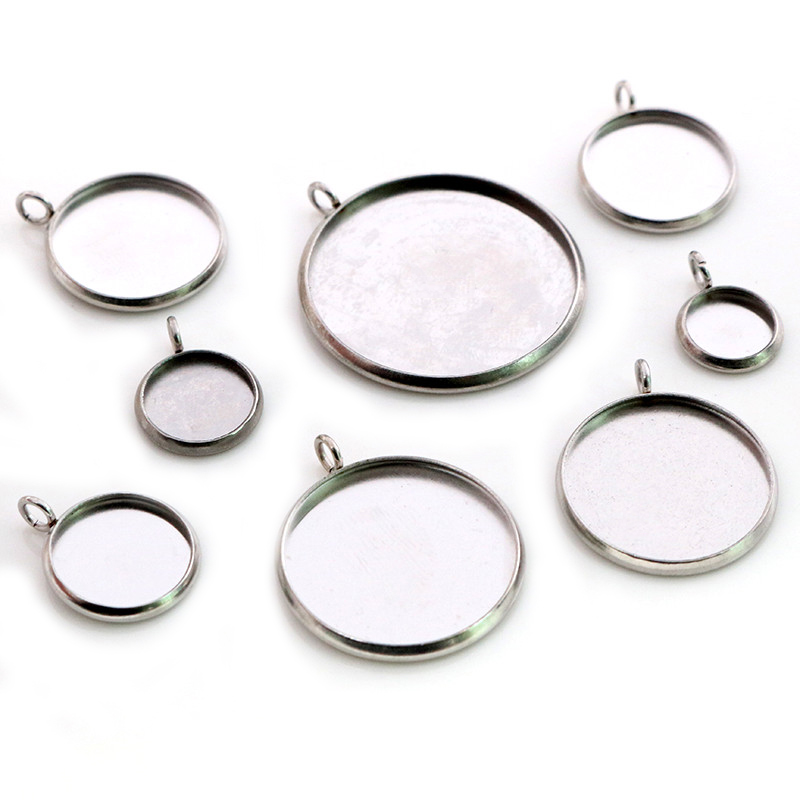 Stainless Steel Material 8-25mm Inner Size New Fashion Upright Style Cabochon Base Cameo Setting Charms Pendant Tray