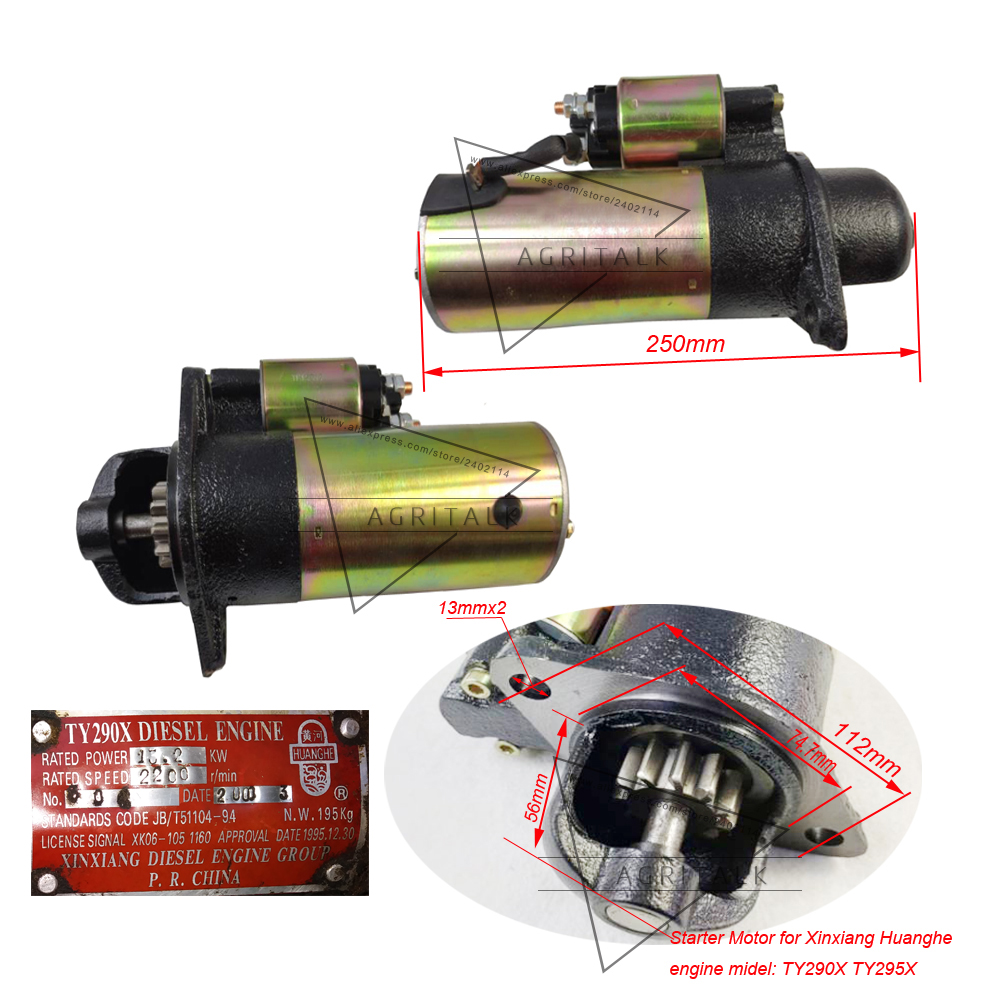 Starter motor for Xinxiang TY290X/TY295X for Jinma tractor ; Jianxiang JX brand engine TY290/TY295 for tractor like SJ-180A,