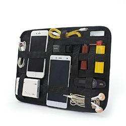 Sac numérique USB pour écouteurs, accessoire électronique portable, élastique intégré, noir, organisateur de câbles, sac numérique pour écouteurs, Organization à domicile