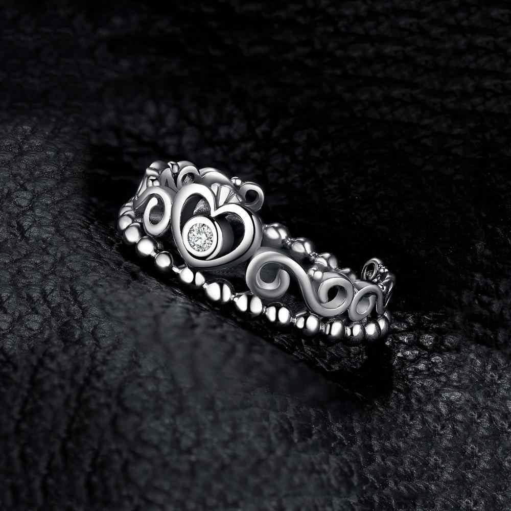 Jewelrypalaceヴィンテージプリンセスクラウンczリング 925 スターリングシルバーリング女性用スタッカブルリングシルバー 925 ジュエリーファインジュエリー