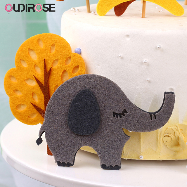 Dekoracje na tort urodzinowy w dżungli śliczne filcowe z roślinami i zwierzętami ozdoba na wierzch tortu lew słoń mała do babeczek wykaszarki materiały urodzinowe dla dzieci