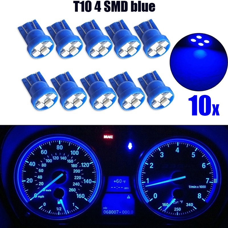 10pcs/set Car Light <font><b>T10</b></font> 4SMD 1210 <font><b>LED</b></font> Wedge Dashboard Gauge Cluster Light Bulb <font><b>Blue</b></font> Accessories image