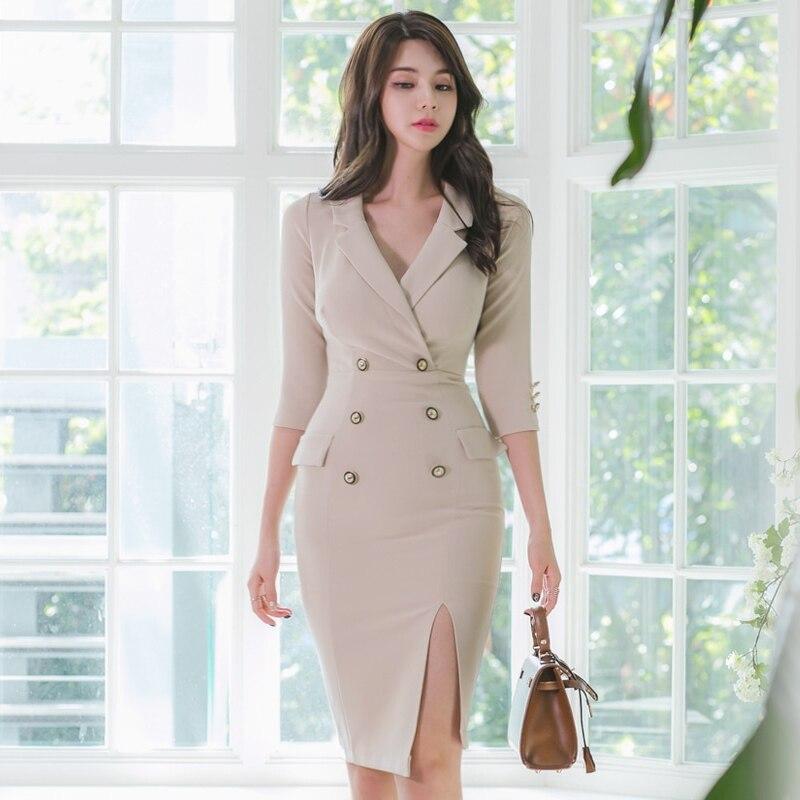 Осеннее Новое Формальное офисное платье Элегантное бежевое платье карандаш на пуговицах с v образным вырезом и разрезом зима весна 2020|Платья|   | АлиЭкспресс