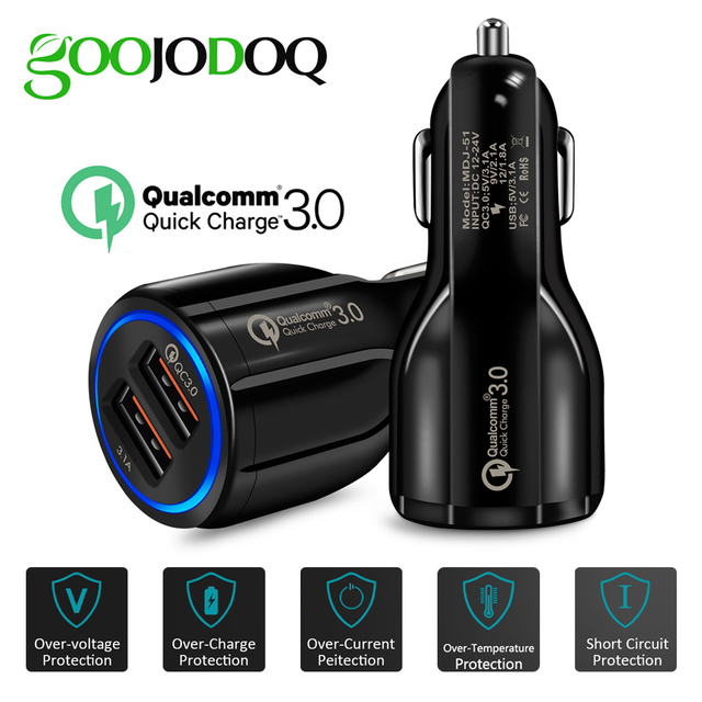 Chargeur de voiture rapide 3.0 double chargeur USB adaptateur chargeur de batterie automatique pour iphone samsung mini chargeur de voiture rapide pour téléphone portable
