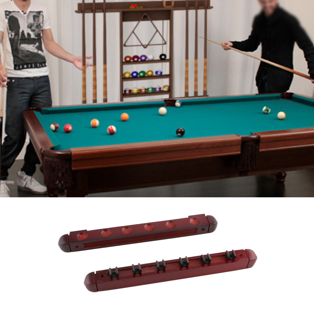 Snooker Pool /& Billiards Stick Holder Protection Wooden Wall Cue Rack For 6 Cues