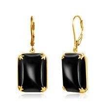 Szjinao Drop Earrings For Women Real 925 Sterling Silver Vintage Earrings Gemstone Black Onyx Party 14K Gold Plated Jewelry 2021