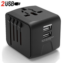 LONGET Universal Travel Adapter Auto Resetting Fuse baby safe design 2 USB Worldwide Wall Charger for UK/EU/AU/Asia