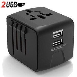 Image 1 - LONGET Universal Travel Adapter Auto Zurücksetzen Sicherung baby sicher design 2 USB Weltweit Wand Ladegerät für UK/EU/AU/Asien
