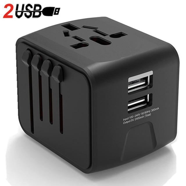 LONGET Universal Travel Adapter Auto Zurücksetzen Sicherung baby sicher design 2 USB Weltweit Wand Ladegerät für UK/EU/AU/Asien