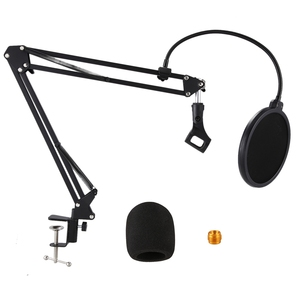 Microphone Stand Suspension Boom Scissor Arm Stands with 3/8-5/8 Screw / Table Mounting Clamp / Filter / Clip Holder