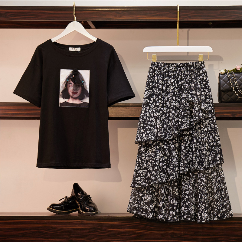 Large Size Dress Fat Mm Summer Wear Stereo Printed T-shirt + Elastic Waist Flounced Floral-Print Skirt Online Celebrity Two-Piec