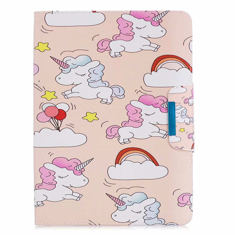 D Green Wekays Cover For iPad 10 2 2019 Cartoon Unicorn Leather Case For iPad 10 2 7th