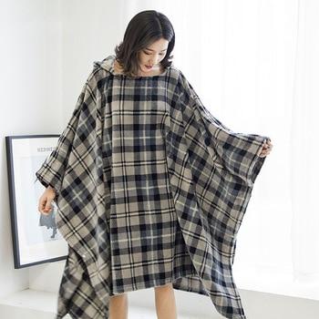 Winter Thick Sofa Comfy TV Blanket Hoodie Sweatshirt Weighted Throw Blanket Fuzzy Fleece Plaid Blanket Fleece Blanket Adult Kids 4