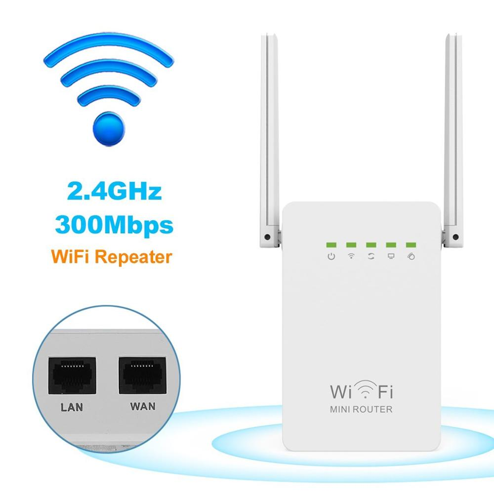 300Mbps Mini Router WiFi Repeater Network Range Extender Booster N300 Wi-Fi Single Increase Dual External Antennas EU/US/UK Plug