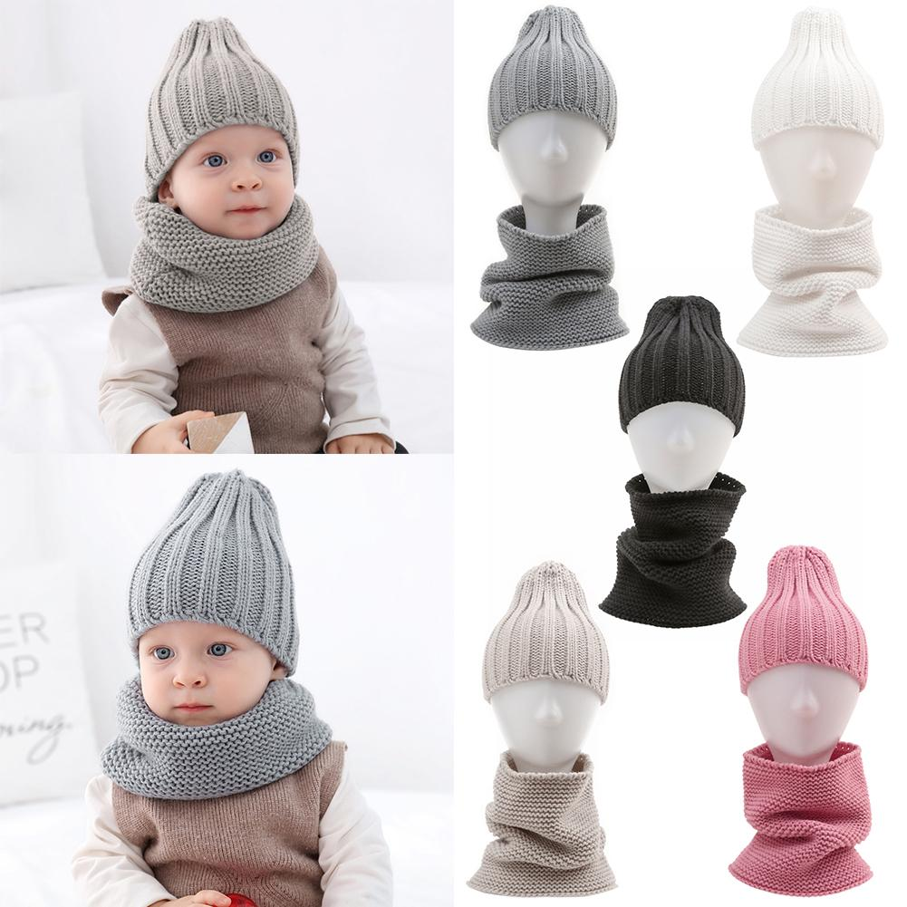 Knitted Kids Baby Hat Excellent Acrylic Fibers With Good Elasticity For Children Boy Girls Autumn Winter Warm Cap Collar Scarf