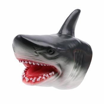 Rekin pacynka TPR głowa zwierzęcia rękawiczki rysunek imitacje zwierząt dzieci Model zabawkowy Scaring Gag halloweenowe psikusy prezenty dla dzieci tanie i dobre opinie W wieku 0-6m 18 + 7-12y 25-36m CN (pochodzenie) lalki RUBBER Head Unisex