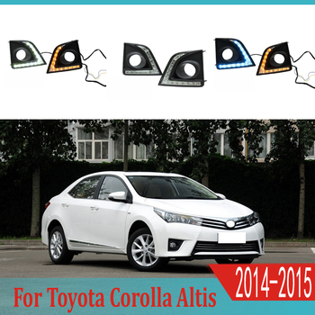 2pcs For Toyota Corolla 2014-2015 LED Daytime Driving Running Light DRL Car Fog Lamp 6000K White Turn Yellow Turn Blue Light