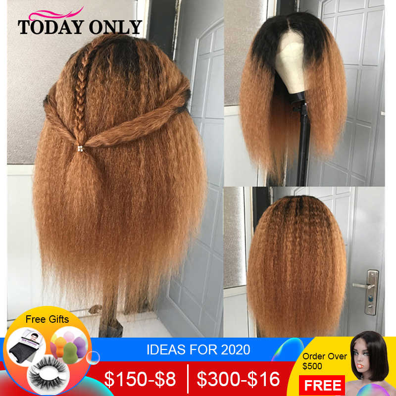 TODAY ONLY Brazilian Kinky Straight Lace Front Wig Ombre Short Human Hair Wigs For Black Women 13x4 Blonde Lace Front Wig Remy