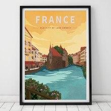 França antiga cidade do lago annecy vintage viagens cartaz da lona pintura da parede arte kraft cartazes revestidos wallstickers decoração casa presente