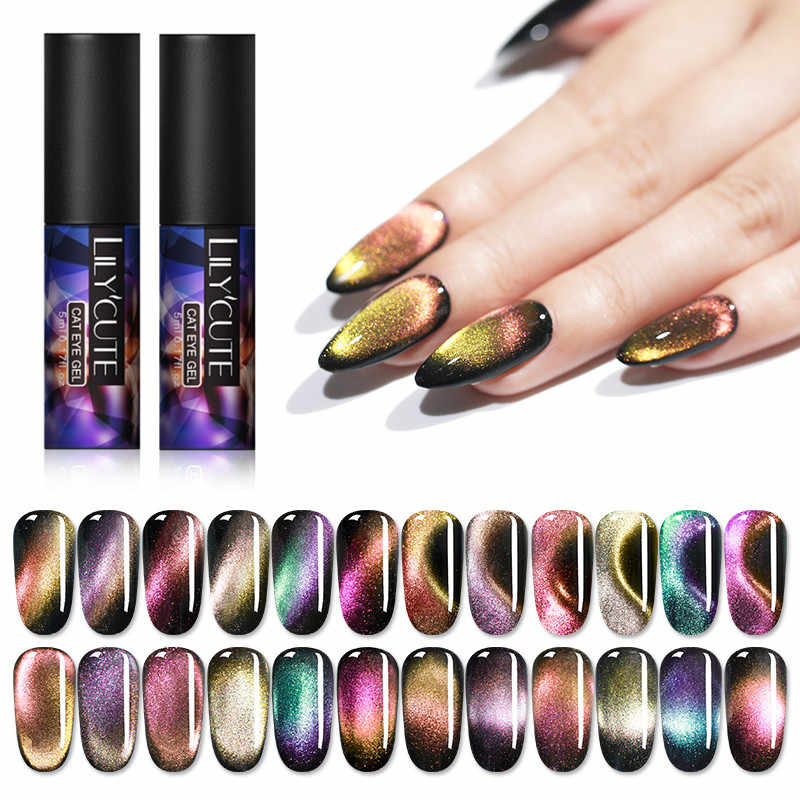 Lilycute 9D Cat Eye Gel Polish Chameleon Magnetic Gel Tahan Lama Bersinar Laser Mata Kucing Kuku Seni Rendam Off UV LED Gel Varnish