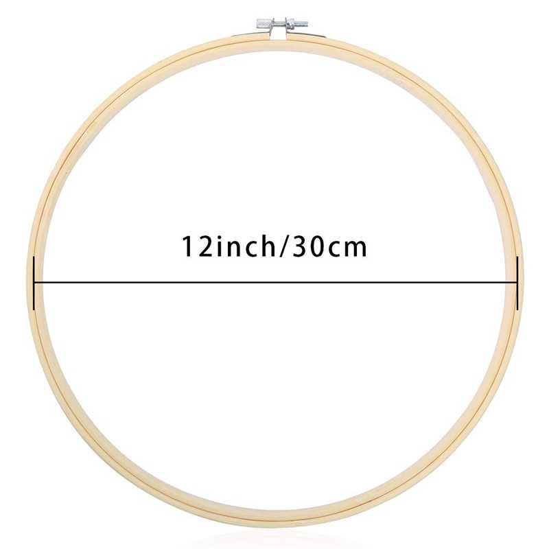 6 pezzi di 12 Pollici di Legno Rotonda Del Ricamo Cerchi di Bambù Regolabile Cerchio Croce Punto Del Cerchio Anello di Massa Per L'arte Del Mestiere A Portata di mano da cucire