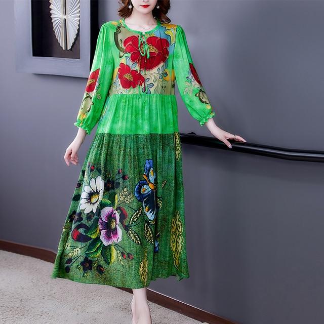 ZUOMAN 5XL Plus Size Loose Mulberry Silk Maxi Sundress 2021 Summer Casual Floral Boho Beach Midi Dresses Elegant Bodycon Party 3