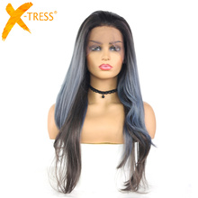 Wigs Synthetic-Hair Lace-Front X-TRESS Color-Lace-Wig Heat-Resistant-Fiber Grey Long-Wavy