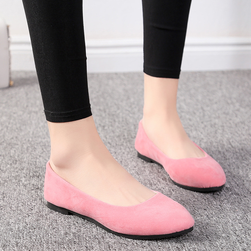 Women Flat Shoes Trend Simple Sweet Classic Candy Colors New Autumn Summer Casual Flock Flats Boat Cute Girls Flats Office Shoes