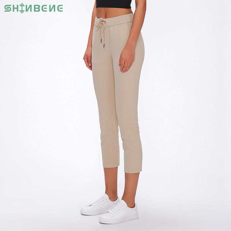 SHINBENE CREAM Waist Drawstring Sport Fitness Cropped Joggers Women Naked-feel Fabric Mid-Rise Training Gym Yoga Capri Pants