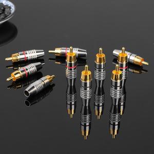 Image 2 - 10 stücke RCA Löten Stecker Audio Video Stecker DIY RCA Lautsprecher Adapter Stecker Digitale Draht Zubehör