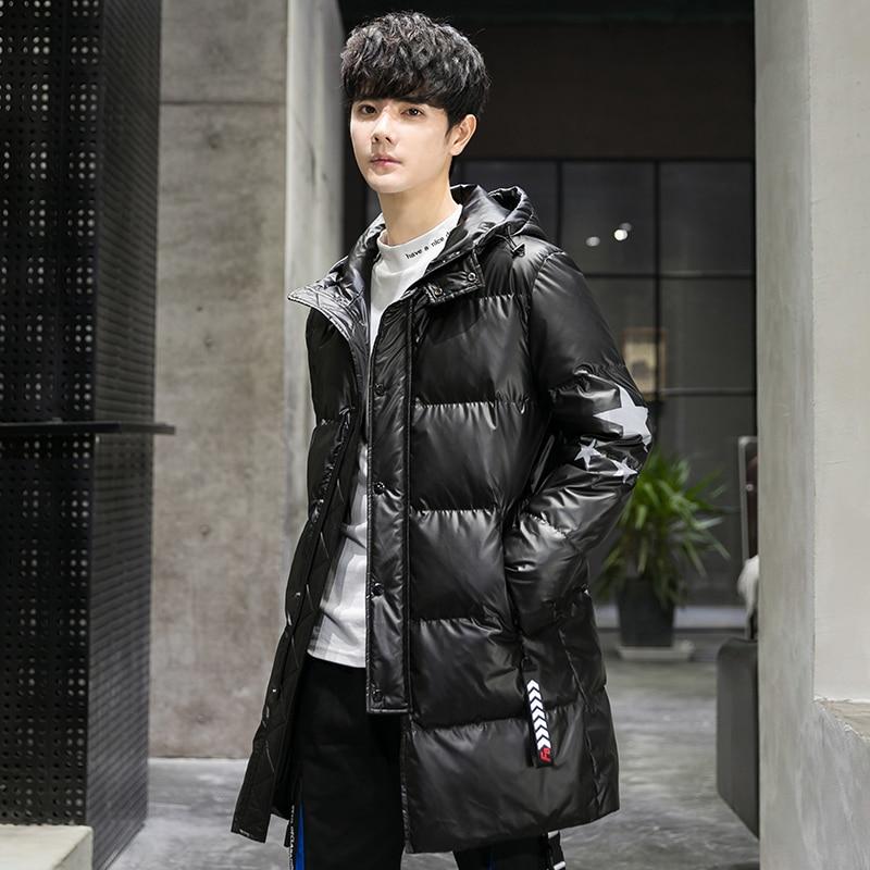 Новый осенний и зимний свободный Зимний толстый пуховик, Толстая черная мужская одежда
