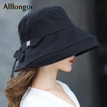 Panama 2021 Summer Black Bow Bucket Hat Women Fashion Korea Bob Cotton gorro pescador mujer Sun Hat Fishing Cap Chapeu Pescador