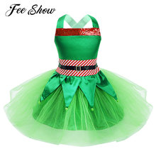 Kids Girls Christmas Holiday Cosplay Costume Dress Up Sleeveless Sequins Striped Waist Tops with Tutu Skirt Outfits Kids Clothes(China)
