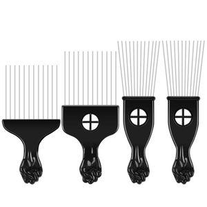 4 шт., расческа для волос в Африканском и американском стиле, металлическая раскраска для волос, парикмахерские расчески, инструмент для укл...